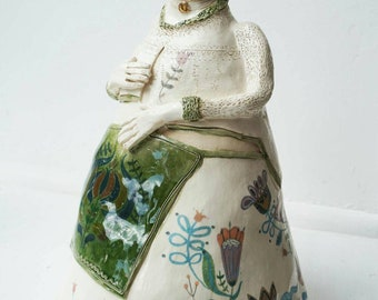 Helga Folk Queen Ceramic Sculpture OOAK