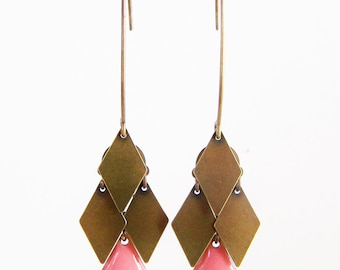 Yellow rose diamond cluster earrings, coral and bronze