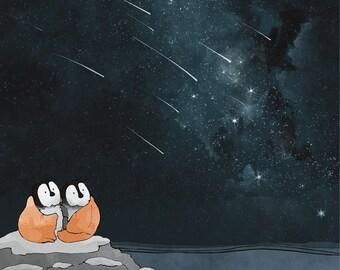 Shooting Stars and Penguin Illustration - Arctic Animal Nursery Art Print