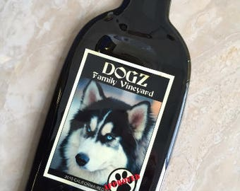 FREE SHIPPING DOGZ - Family Vineyard // Wine Slump Melted Flat Wine Bottle Cheese Tray Spoon Rest Glass Eco Gift