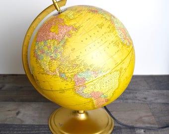 "1970s World Globe lamp...light up world globe…Cram's Plasti-Lite 12"" Illuminated Globe."