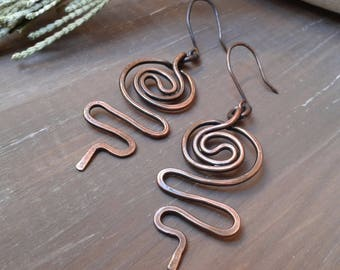 Copper earrings, rustic earrings, oxidized copper, hammered earrings, 7 year anniversary gift, gift for her