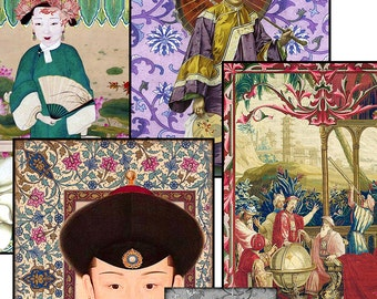 """Digital Asian Collages ACEO Size 2.5"""" X 3.5"""" Twelve Different Printable Images ATC Art Cards Scrapbook Paper Crafts Stationery ACEO 41"""