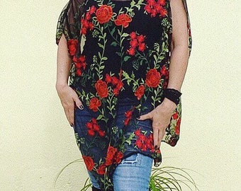 Red Roses Lacey Poncho