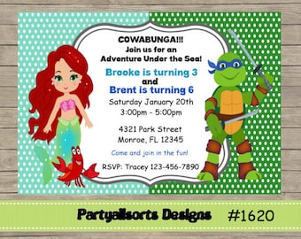 173 DIY - Princess/Ariel and Ninja Trutles Party Invitations Cards.