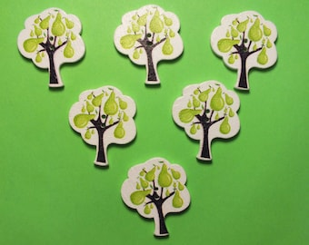 SET of 6 wood buttons: tree with pears 30 * 25 mm