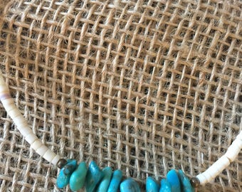 Vintage Turquoise shell Choker Necklace