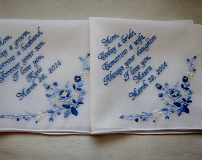 Set of 2 Personalized Wedding Handkerchiefs, Mother of Bride Gift from bride, Mother of Groom Gift From Bride, Custom Wedding Hankie