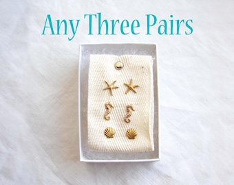 Pick Any 3 Pairs of Stud Earrings. Teeny Tiny Earrings Set of 3. Gift Set. Simple Modern Jewelry by PetitBlue