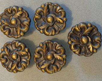 Vintage Cabinet Knobs Dresser Drawer Flower Shape Set Of 5 With Screws 593  Antique Brass Finish