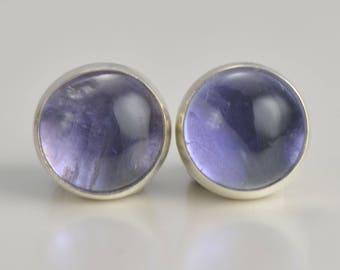 iolite 6mm sterling silver stud earrings pair