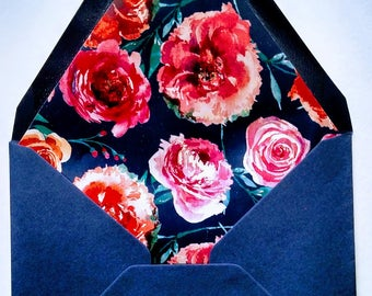 Navy Floral-lined Envelopes