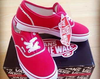 Adults Swarovksi Crystal Bling Red or White Vans Trainers
