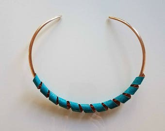 turquoise and copper choker necklace,  plated choker, choker necklace, adjustable