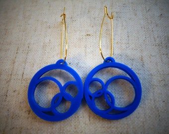 3d Printed Modern Earrings- Circle Earrings- Eco Friendly Jewelry