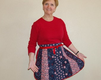 Red White and Blue Patriotic Half Apron-Retro Petal Style