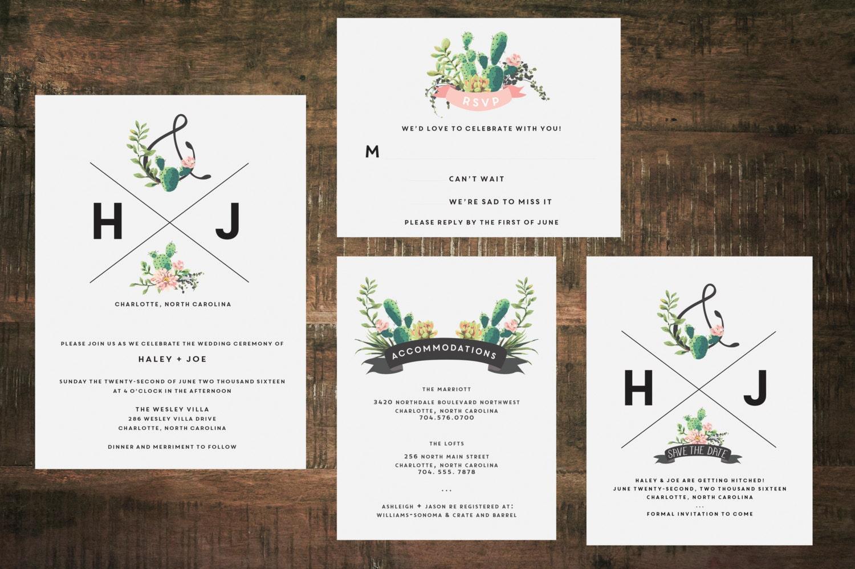 Succulent Wedding Invitation Suite Set of 25 Wedding