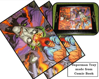 Recycled Picture Frame Tray Pop Art - Comic Book - Superman, Joker, OOAK, colorful, whimsical