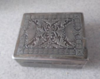 """Wood Lined CIGARETTE BOX Vintage antique  Sterling Silver On Copper Hinged Flawless marked 4 x 2"""" Jewelry Trinket Box"""