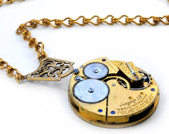 Antique 1891 Waltham Pocket Watch Movement Steampunk Necklace
