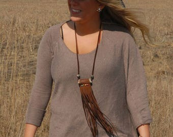 Antler Tribal necklace - Leather necklace - fringed necklace