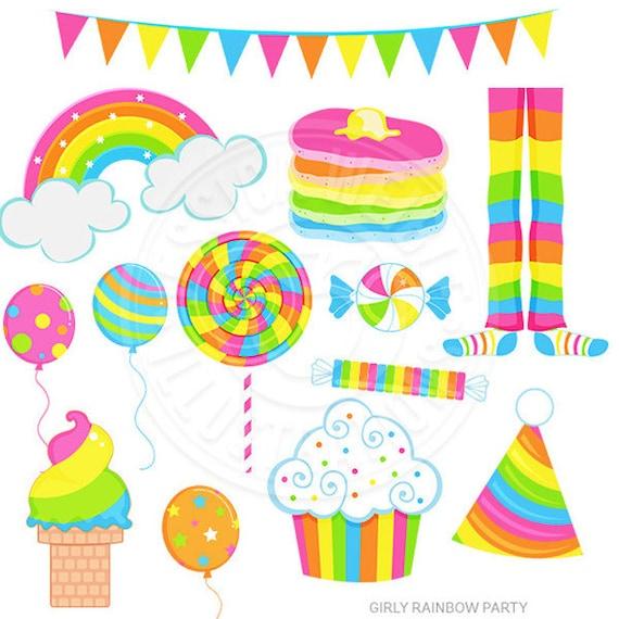 girly rainbow party cute digital clipart rainbow clip art rainbow rh etsystudio com  pajama party clipart free