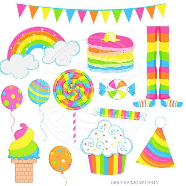 girly rainbow party cute digital clipart rainbow clip art rh etsy com  pyjama party clipart