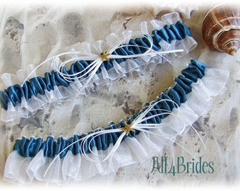 Starfish Beach Wedding Bridal Leg Garters - Teal Garter Belt Set - Something Blue Bridal Accessories