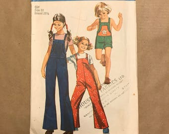 Vintage 1971 Sewing Pattern - Simplicity 9442 - Childrens Overalls