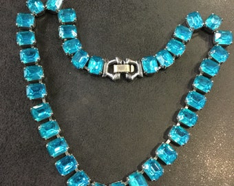 Chrome bright blue necklace