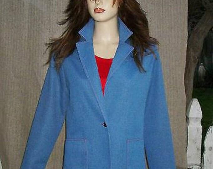 Vintage 70s MOD Preppy Graff California Blue Denim Polyester Womens Jacket Pants Outfit 14