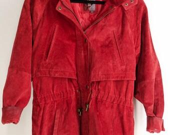 Vintage 90s Red Suede Leather Trench Coat 90s utilitarian Hoodie jacket Red Jacket Hood Rustic Jacket Grunge Hip Hop Jacket Small Medium