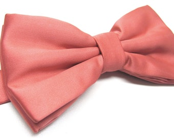 Mens Bowtie.Coral Bowtie With Matching Pocket Square Option
