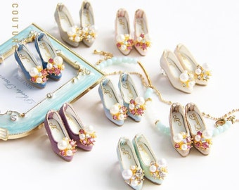 SK Couture Limited Edition- Vintage Gemstone Shoes for Blythe, Pullip, Azone, Momoko, Licca, Jenny