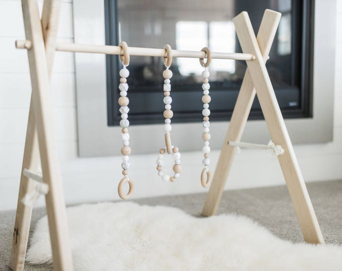 Wooden Baby Play Gym Set // Includes Maple Hardwood Frame, Silicone Beaded Strands and Removable Teething Bracelet