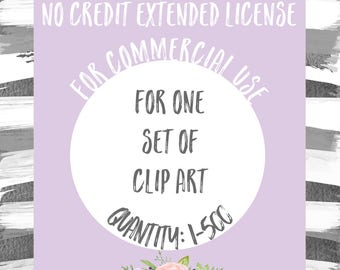 Extended License for Commercial Use of One Clipart Set - Quantity of 1-500, Commercial Use of Clip Art Sets