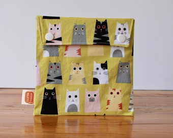 Reusable sandwich bag, reusable snack bag, fabric bag with Cat heads print [#261], eco friendly, no waste lunch box, ProCare, washable
