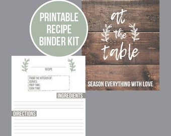 Printable Recipe Binder Kit - EDITABLE