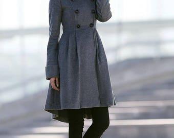 Womens coats, swing coat, coat, Gray Coat, Asymmetrical coat, jacket, womens jackets, winter coat, womens coat, women coats, custom  C157