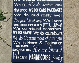 Military Sign, Military Decor, Marines, In This House Sign, Home Decor,