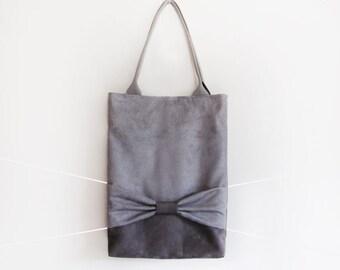Suede grey tote bag with big bow / Minimalist suede anthracite and grey tote bag / Grey medium bow shoulder bag