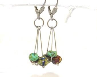 Boho Dangle Earrings, Czech Glass & Stainless Steel Drops