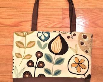 Floral handbag, fabric handbags, tote bag canvas, fabric tote bag, shoulder bag, medium bag, brown canvas tote bag, shopping bag, purse