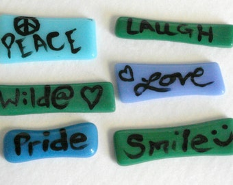 Mosaic tile words - handpainted - fused glass - laugh - peace - blue - green - purple - glass mosaic word pebbles - glass mosaic word tiles