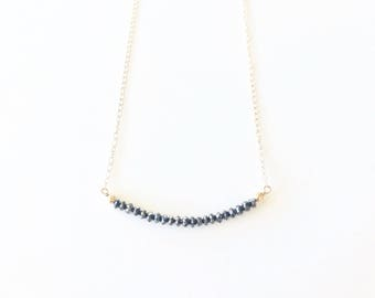 necklace 14k solid gold with black diamond beads delicate gold necklace