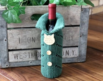 Knitted Wine Bottle Gift Bag, Wine Bottle Gift Bag, Wine Bottle Cozie, Wine Bottle Cover, Gift Bags, Wine Bottle Sweater,, Cat Lover Gift