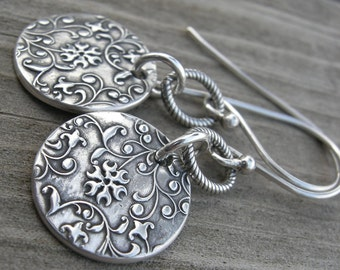 Sterling Silver Tendril Vine Coin Earrings PMC