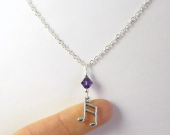 Music Note Necklace- choose a birthstone, Music Note Pendant, Music Birthstone, Music Necklace, Music Gift, Music Pendant, Music Charm