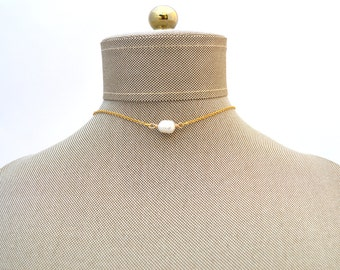 Pearl Chain Choker Necklace // Fresh Water Pearl // Gold Silver Stainless Steel  Minimalist Dainty Bridesmaid gift