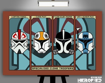 """Star Wars Clone Wars Inspired """"Specialized Clone Troopers"""" 17X11 Art Print Micro Series"""